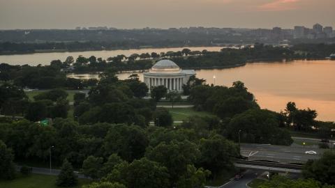 AXP076_000_0029F - Aerial stock photo of The Jefferson Memorial, Washington, D.C., twilight