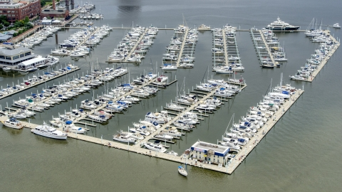 AXP078_000_0009F - Aerial stock photo of Boats docked at the Baltimore Marine Center, Maryland