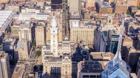 AXP079_000_0005F - Aerial stock photo of A view of Philadelphia City Hall, Pennsylvania