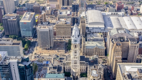 AXP079_000_0006F - Aerial stock photo of The William Penn statue atop Philadelphia City Hall in Pennsylvania