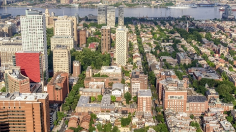 AXP079_000_0010F - Aerial stock photo of Apartment and office buildings around Washington Square in Downtown Philadelphia, Pennsylvania