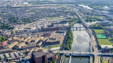 AXP079_000_0014F - Aerial stock photo of The Veolia Energy power plant next to the Schuylkill River Philadelphia, Pennsylvania