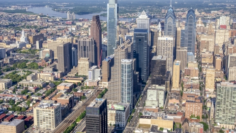 AXP079_000_0015F - Aerial stock photo of Skyscrapers and city buildings in the Philadelphia's downtown area, Pennsylvania