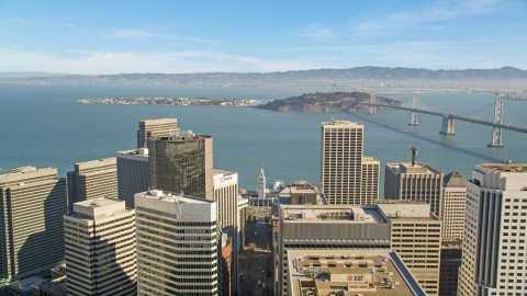 DCSF05_019.0000000 - Aerial stock photo of Islands in San Francisco Bay seen from skyscrapers in Downtown San Francisco, California