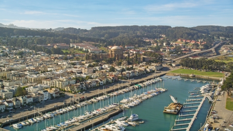 DCSF05_030.0000415 - Aerial stock photo of Yacht Harbor and Palace of Fine Arts, San Francisco, California