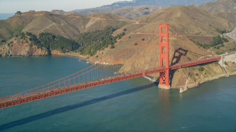 DCSF05_039.0000031 - Aerial stock photo of The Marin side of the Golden Gate Bridge, San Francisco, California
