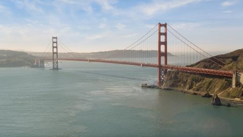 DCSF05_040.0000645 - Aerial stock photo of The Golden Gate Bridge spanning the entrance to San Francisco Bay, California