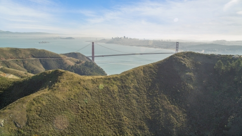 DCSF05_048.0000594 - Aerial stock photo of Golden Gate Bridge, San Francisco Bay, and downtown skyline seen from Marin Headlands, California