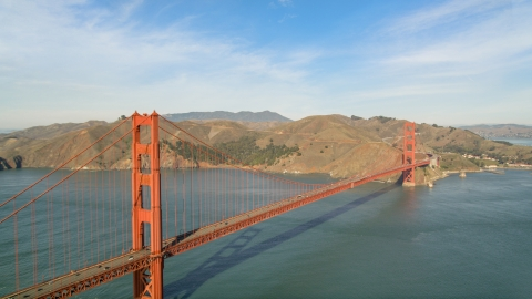 DCSF05_065.0000233 - Aerial stock photo of Golden Gate Bridge with Marin Headlands in the background, San Francisco Bay, California