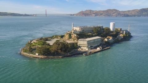 DCSF05_071.0000399 - Aerial stock photo of World famous Alcatraz and Golden Gate Bridge, San Francisco, California