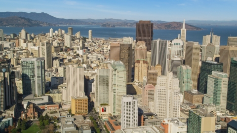 DCSF05_073.0000182 - Aerial stock photo of Financial District skyscrapers in Downtown San Francisco, California
