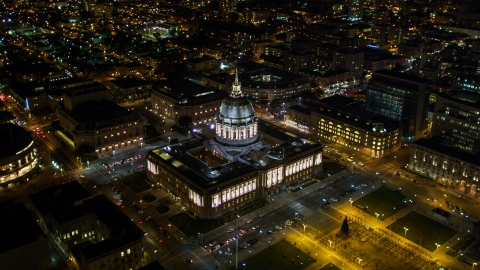 DCSF06_006.0000242 - Aerial stock photo of San Francisco City Hall in the Civic Center area of San Francisco, California, night