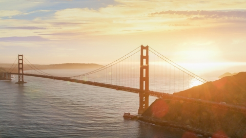 DCSF07_043.0000094 - Aerial stock photo of The Golden Gate Bridge at sunset in San Francisco, California