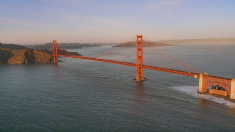 DCSF07_045.0000249 - Aerial stock photo of A view of the Golden Gate Bridge, San Francisco, California, sunset