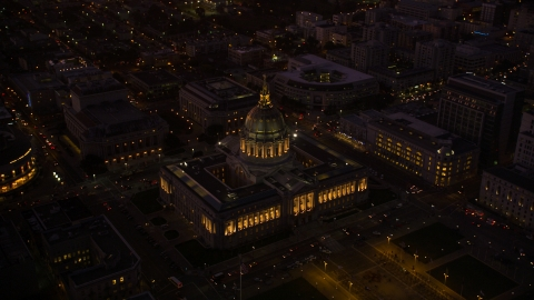 DCSF07_090.0000471 - Aerial stock photo of San Francisco City Hall in Civic Center, San Francisco, California, night
