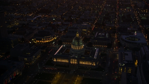 DCSF07_091.0000317 - Aerial stock photo of San Francisco City Hall in Civic Center at night, San Francisco, California