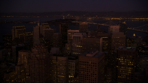 DCSF07_093.0000118 - Aerial stock photo of Downtown San Francisco skyscrapers at night, California