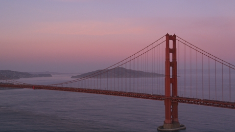 DCSF10_029.0000561 - Aerial stock photo of Golden Gate Bridge at twilight in San Francisco, California