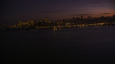 DCSF10_060.0000000 - Aerial stock photo of Pier 39 and skyline of Downtown San Francisco, California, twilight