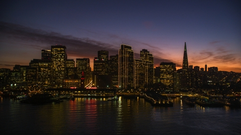 DCSF10_062.0000187 - Aerial stock photo of Ferry Building and the skyline of Downtown San Francisco, California, twilight