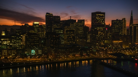 DCSF10_063.0000016 - Aerial stock photo of The city's downtown skyline at twilight in Downtown San Francisco, California