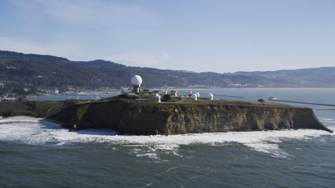DFKSF15_068.0000305 - Aerial stock photo of A view of Pillar Point Air Force Station in Half Moon Bay, California