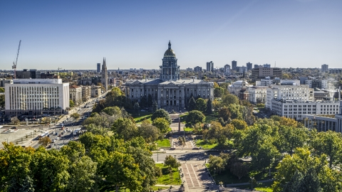 DXP001_000137 - Aerial stock photo of Colorado State Capitol building seen from Civic Center Park in Downtown Denver, Colorado