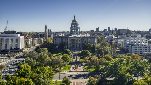 DXP001_000138 - Aerial stock photo of Colorado State Capitol building by Civic Center Park in Downtown Denver, Colorado