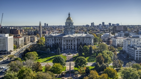 DXP001_000141 - Aerial stock photo of The Colorado State Capitol building in Downtown Denver, Colorado
