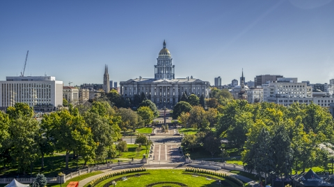 DXP001_000143 - Aerial stock photo of The Colorado State Capitol building seen while over Civic Center Park in Downtown Denver, Colorado