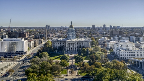 DXP001_000145 - Aerial stock photo of The Colorado State Capitol viewed from Civic Center Park in Downtown Denver, Colorado