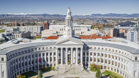 DXP001_000148 - Aerial stock photo of The Denver City Council building in Downtown Denver, Colorado