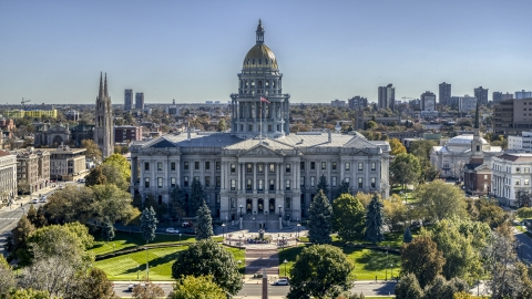 DXP001_000153 - Aerial stock photo of Colorado State Capitol with visitors in front of the building in Downtown Denver, Colorado
