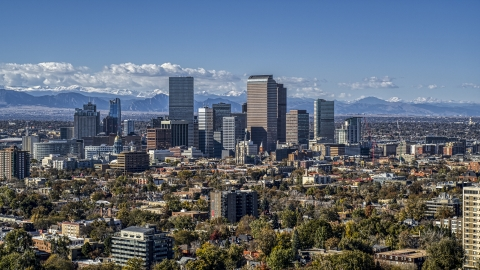 DXP001_000158 - Aerial stock photo of View across the city at the skyline of Downtown Denver, Colorado