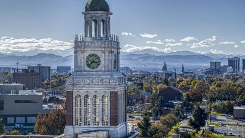 DXP001_000161 - Aerial stock photo of A tall clock tower in Denver, Colorado