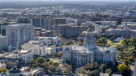 DXP001_000166 - Aerial stock photo of The Colorado State Capitol and neighboring buildings, Downtown Denver, Colorado