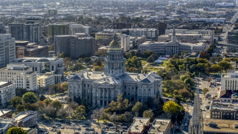 DXP001_000167 - Aerial stock photo of The Colorado State Capitol with Denver City Council building behind it, Downtown Denver, Colorado
