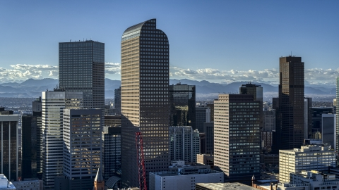 DXP001_000173 - Aerial stock photo of Wells Fargo Center skyscraper and nearby high-rises in Downtown Denver, Colorado