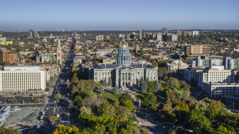 DXP001_000177 - Aerial stock photo of The Colorado State Capitol and Civic Center Park, Downtown Denver, Colorado