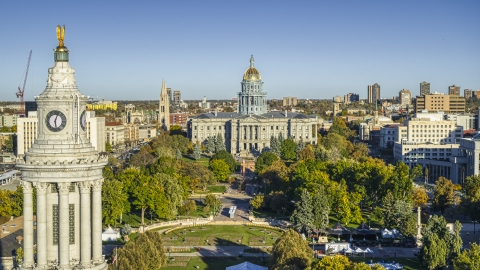 DXP001_000178 - Aerial stock photo of The Colorado State Capitol and Civic Center Park seen from city council clock tower, Downtown Denver, Colorado