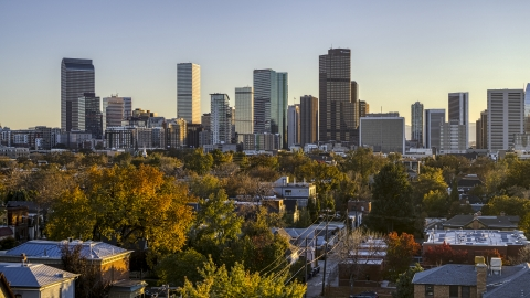 DXP001_000179 - Aerial stock photo of Wide view of city's skyline seen from tree-lined residential neighborhood at sunset, Downtown Denver, Colorado