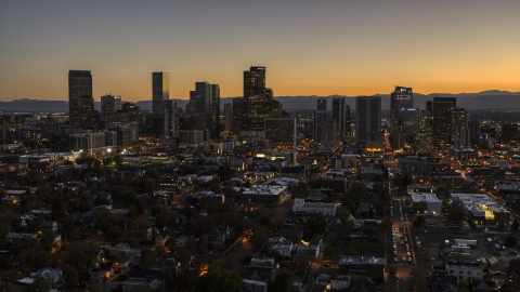 DXP001_000190 - Aerial stock photo of Wide view of the city's skyline at twilight, Downtown Denver, Colorado