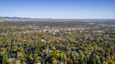 DXP001_000193 - Aerial stock photo of Wide view of the town and surrounding neighborhoods, Boulder, Colorado