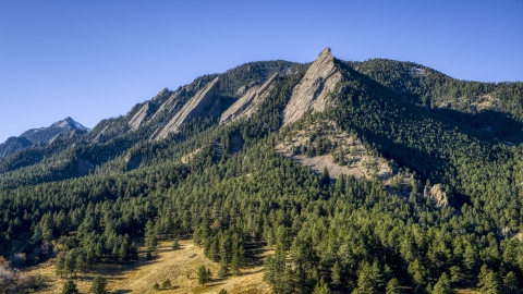 DXP001_000195 - Aerial stock photo of Green Mountain and flatirons by a tree-covered slopes, Rocky Mountains, Colorado