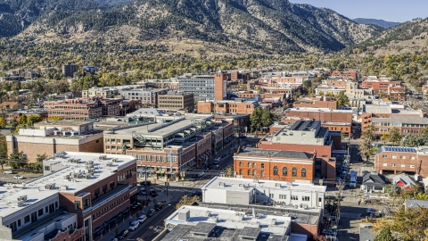 DXP001_000199 - Aerial stock photo of Shops and brick office buildings in a quiet town, Boulder, Colorado