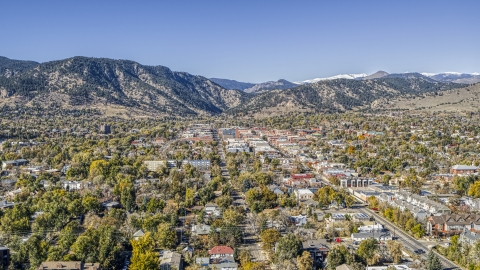 DXP001_000200 - Aerial stock photo of The quiet town with mountain ridges in the background, Boulder, Colorado