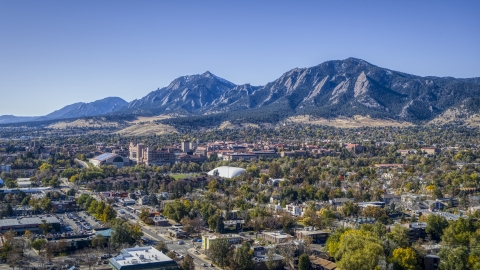 DXP001_000202 - Aerial stock photo of The University of Colorado Boulder with Green Mountain behind it, Boulder, Colorado