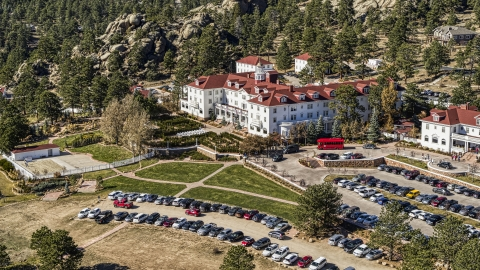 DXP001_000209 - Aerial stock photo of The historic Stanley Hotel and grounds in Estes Park, Colorado