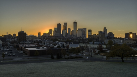 DXP001_000254 - Aerial stock photo of The city's skyline at sunrise in Downtown Minneapolis, Minnesota