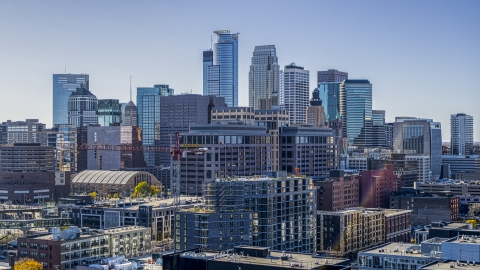 DXP001_000300 - Aerial stock photo of The city's skyline and office buildings, Downtown Minneapolis, Minnesota
